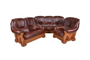 3 + 2 + 1 Диван трехместные двухместный и кресло Nattan, натуральная кожа.