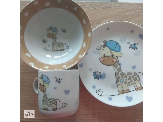 бу 3 предмети. фарфор. набір дитячого посуду Limited edition в Львове