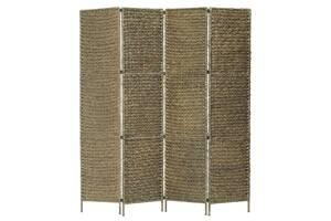 4-панельний роздільник кімнати, коричневий, 154x160 см, водяний гіацинт Артикул: 247348