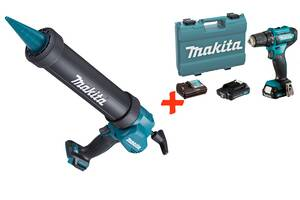 Аккумуляторный пистолет для герметика Makita CG100DZA + Аккумуляторный шуруповерт DF333DWAE + 2 акб 12 V 2 Ah + з/у +...