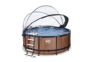 Бассейн круглый с куполом EXIT дерево 360х122 см с насосом для фильтров с картриджем