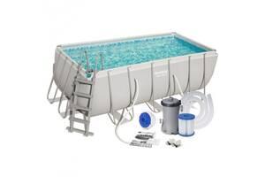 Бассейн прямоугольный каркасный семейный сборной Bestway 56456 Power Steel Frame Pool 412х201х122 см (int_56456BW)