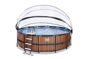 Бассейн с куполом EXIT дерево 450х122 см (фильтр картридж)