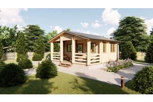 Деревянный дом для дачи 6х6 м из бруса с террасой в Украине. Кредитование строительства деревянных домов Каменское
