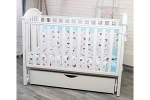 Детская белая кроватка с рождения Twins  І Love деревянная с маятникок и ящиком 120х60 см (7361)
