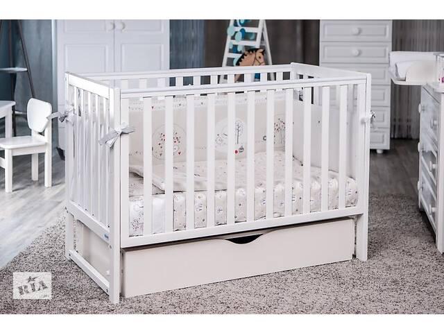 Детская кроватка из дерева для новорожденного с ящиком и маятником Twins Pinocchio 120 х 60 см, белая- объявление о продаже  в Киеве