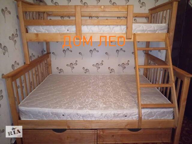продам Двох'ярусне дерев'яне ліжко Олімп з шухлядами 90х190 + 120х190 бу в Василькові