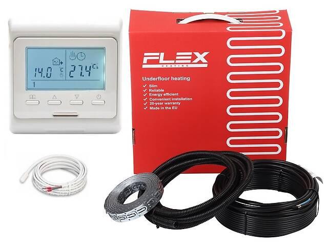 купить бу Flex тепла підлога 15м² - 18м²/ 2625 Вт (150м) нагрівальний кабель з програмованим терморегулятором E51 в Києві