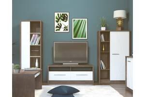 Комплект меблів у вітальню Intarsio Virgo Дуб ансберг темний + Ультра білий металік