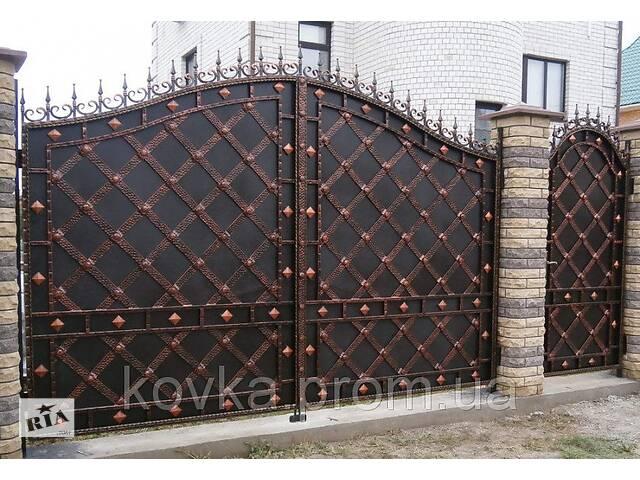 Кованые распашные ворота с калиткой, код: 01086- объявление о продаже  в Ладыжине