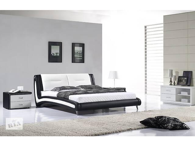 Кожаная двуспальная кровать Sonata Mobel B208 Черно-белая- объявление о продаже  в Одессе