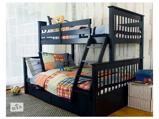 Кровать детская двухъярусная Жасмин Олигарх трехспальная трехместная деревянная трансформер