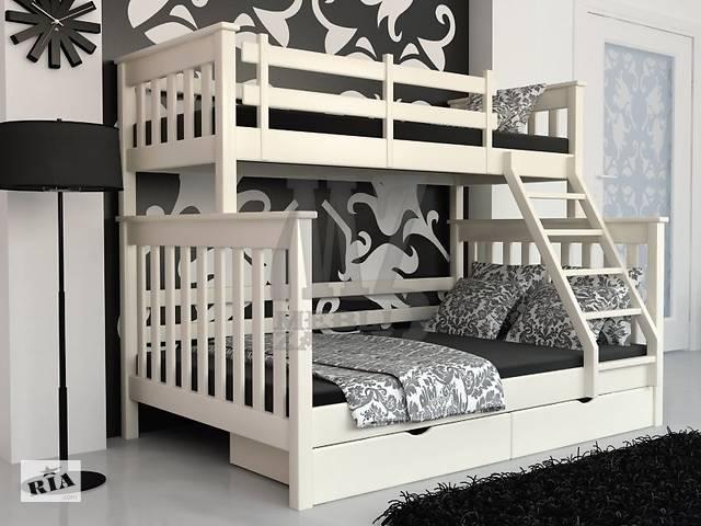 Кровать двухъярусная трансформер Жасмин Олимп Олигарх трехспальная трехместная семейного типа новая дерево ольха в налич