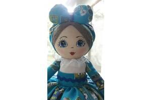 Кукла-грелка на заварочный чайник ручной работы в голубом сарафане