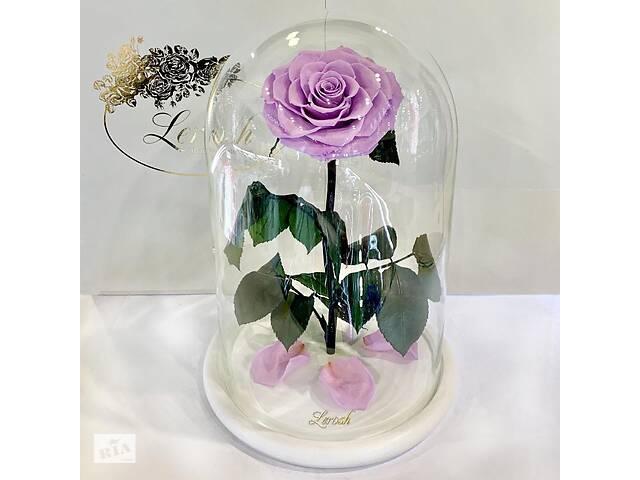 купить бу Лиловая роза в колбе Lerosh - Lux 33 см на белой подставке SKL15-279548 в Харькове