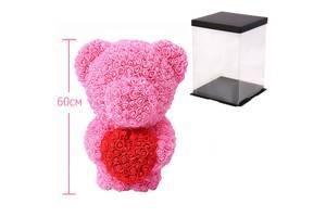 Мишка из роз c сердцем, 60 см KS Bear Flowers KS BS3 Pink SKL25-148562