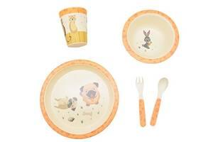 Набор детской бамбуковой посуды Eco-Friendly из 5 предметов (MH-2772-2) Собачки