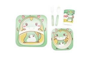 Набор детской бамбуковой посуды Stenson MH-2770-17 Дракончик 5 предметов (gr_010868)