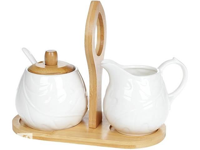 продам Набор для чая Bona Nouvelle Home Лист молочник и сахарница на подставке (psg_BD-375-372) бу в Киеве