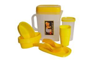 Набор для пикника 35 предметов на 6 персон в чемодане R30214 пластик Желтый (gr_014876)