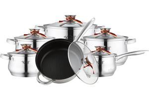 Набор посуды из нержавеющей стали Krauff  12 предметов