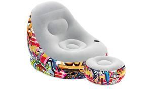 Надувное велюровое кресло с пуфом и подстаканником Bestway