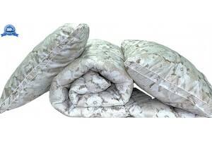 "Одеяло лебяжий пух ""Цветы"" евро + 2 подушки 70х70"