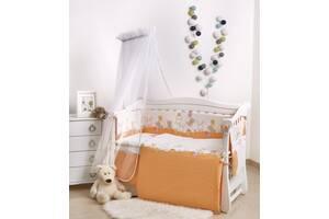 Постель для новорожденных на кроватку Twins Comfort New Горошки 7 элементов С-121, оранжевая