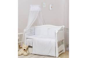 Постельный комплект с балдахином для детской кроватки Twins Romantik, 7 элементов R-004 Vintage Baby, белый