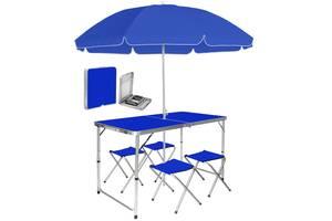 Раскладной стол 120 см для пикника с 4 стульями и зонтом 180 см Aluprom, набор туристический в чемодане Синий