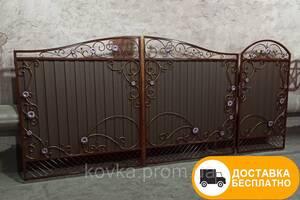 Распашные ворота с калиткой из профнастила, код: Р-01112