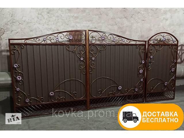 бу Распашные ворота с калиткой из профнастила, код: Р-01112 в Ладыжине