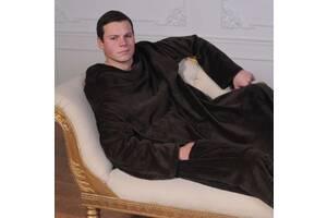 Рукоплед. Плед с рукавами и карманами из микрофибры 200х150. Коричневый SKL20-141161