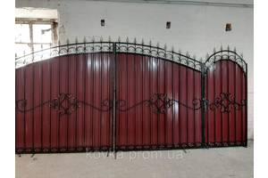 Ворота из профнастилом с коваными элементами, код: Р-0120