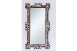Дзеркало в передпокій в дерев'яній різьбленій рамі настінне BST 530083 145 * 80 см коричневе Ажур