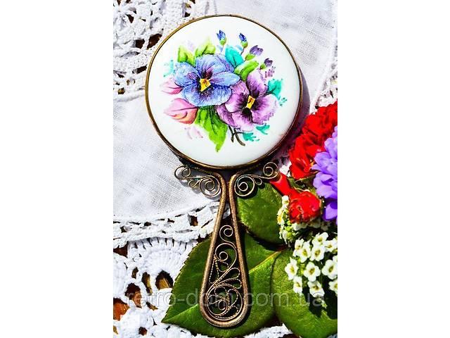 Очаровательное карманное зеркало,зеркальце! Винтаж! Финифть(эмаль)!