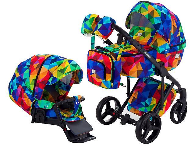 купить бу Коляска 2 в 1 Adamex Luciano Y123 разноцветный калейдоскоп в Одессе