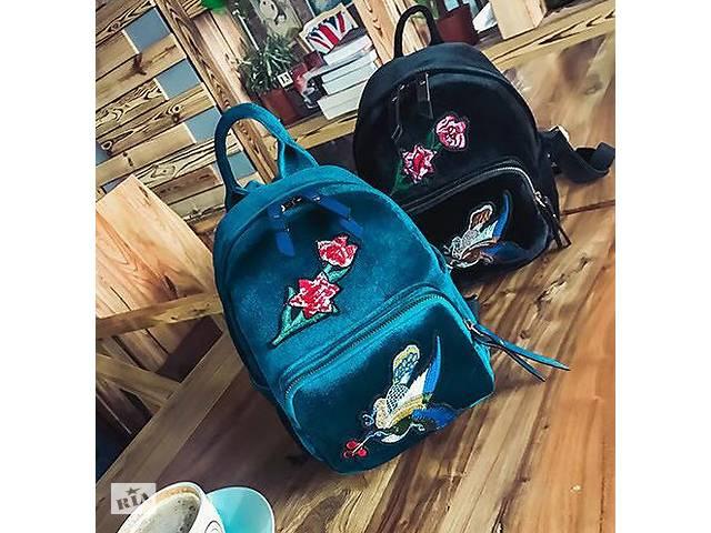 бу Модные велюровые рюкзаки с нашивкой цветов и птицы в Хмельницком