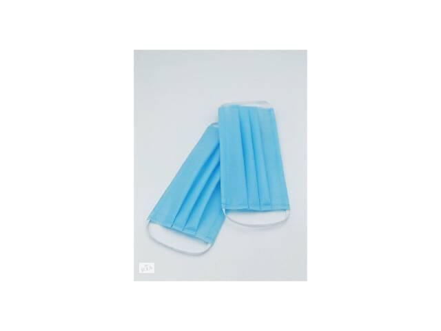 Маски медицинские шитые одноразовые синие - от 50 штук