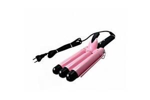 Плойка тройная для завивки волос Gemei GM-1956 Розово-черный (VD34303880)