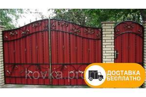 Ворота з кованими елементами і профнастилом, код: Р-0126