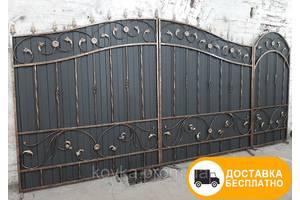 Ворота с ковкой и профнастилом, код: Р-0108