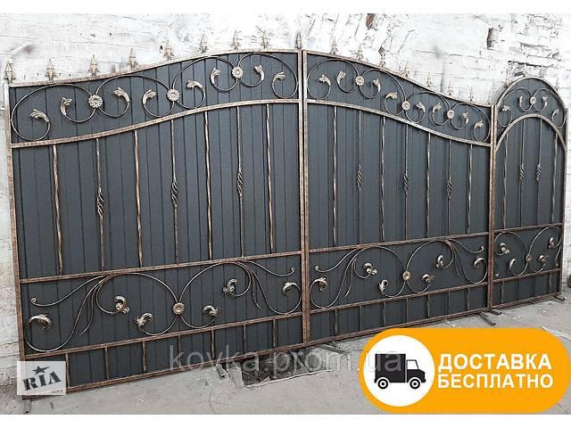 купить бу Ворота с ковкой и профнастилом, код: Р-0108 в Ладыжине