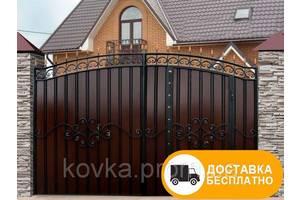 Ворота из профнастилом с встроенной калиткой, код: Р-0119