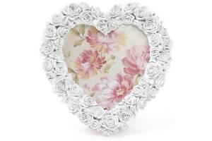 Фоторамка Sweet White Белые Розы в форме сердца фото 14х15см (psg_BD-493-588)