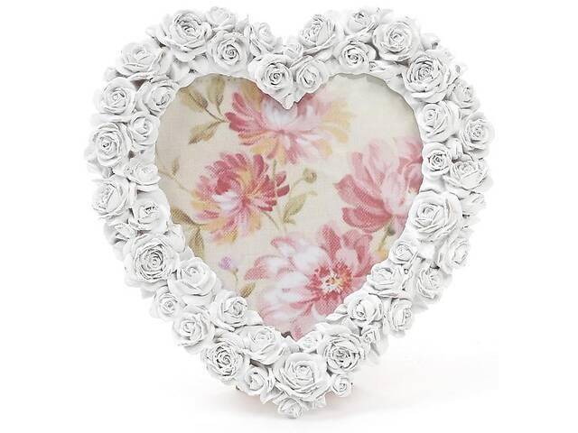 купить бу Фоторамка Sweet White Белые Розы в форме сердца фото 14х15см (psg_BD-493-588) в Киеве