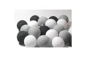 Гирлянда светодиодная Беспроводная GTM 20 шариков, 3,2 метра черный белый серый цвет (26654-FL)