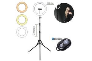 Кольцевая LED лампа светодиодная Ring Light M-33 диаметр 33 см с держателем для телефона 220В + штатив 2 м + Bluetoot...