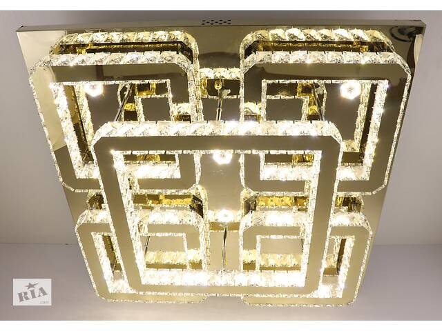купить бу Люстра потолочная хрустальная Led с пультом C1787/800800-gd Золото 17х80х80 см. в Одессе