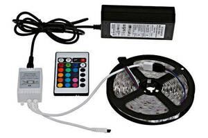 Світлодіодна стрічка SMD 5050 300 LED RGB 5м з пультом і блоком живлення